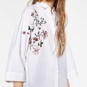 Zara Floral Embroidered Button Down Shirt Sz L
